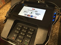 Dunkin Donuts Credit Card Swipe Device Machine Chip Reader, 9/2016, pics by Mike Mozart of TheToyChannel and JeepersMedia on YouTube #Dunkin #Donuts #Credit #Card #Swipe #Reader #Chip (JeepersMedia) Tags: dunkin donuts credit card swipe reader chip