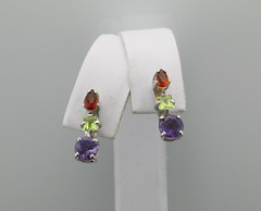 SS amethyst peridot garnet earrings