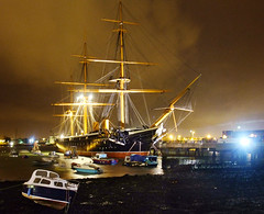 Night view of HMS Warrior (Beardy Vulcan) Tags: christmas xmas autumn england fall night december ship forsale nocturnal harbour dusk navy victorian hampshire warship gosport royalnavy chrimbo portsmouthharbour hmswarrior 2011