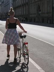 cyclist !!! (VERUSHKA4) Tags: street city travel light summer people woman house girl beautiful bike wheel copenhagen denmark iron europe day cityscape cyclist legs metallic object august shade danish blonde scandinavia yabbadabbadoo