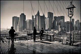 View of Lower Manhattan from the Brooklyn Bridge (b+w) 2008