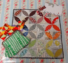 BQS#3 received from The Wee Pixie (Cottilello) Tags: orange 3 modern petals quilt mini swap peel patchwork brit