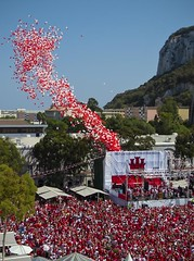 Gibraltar National Day 2012 (Roy McGrail (krm gib)) Tags: red people white rock balloons rally gibraltar crowds 2012 casemates nationalday selfdetermination nikonp7000