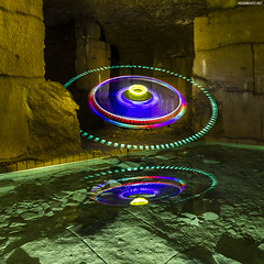 OVNI in the quarry (never ends) Tags: blue light red lightpainting color green water yellow jaune painting rouge eau purple lumire violet vert bleu reflet reflect quarry couleur ovni carrire lapp piliers peinturelumire