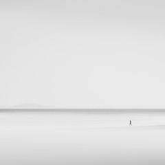 A Quiet Life (tvc415) Tags: blackandwhite beach person islands horizon running minimal highkey gulfislands