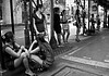 spots on the pavement II (bw) (Adrian in Bangkok) Tags: thailand asia bangkok whores prostitutes hookers hookerrow
