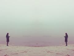 charis (noelebelle) Tags: ocean lighting morning blue light sea sky people woman lake black beach girl photoshop sunrise canon photography sweater sand waves boots cloudy horizon foggy tights oldschool retro shore dreamy lovely edit charisma