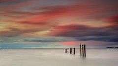 St. Mary's Posts (Alistair Bennett) Tags: longexposure sunset seascape coast rocks posts stmarys whitleybay tynewear oldhartley nd30 baitisland gnd075he gnd045se nikkorafs50mmƒ18g