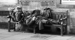 street snooze (byronv2) Tags: blackandwhite blackwhite bw monochrome street bench sleep sleeping snooze candid vagrant downandout royalmile canongate edinburgh man homeless tramp seat backpack peoplewatching