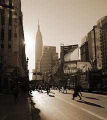 34th Street, NY (Guillermo Murcia) Tags: new york city nyc newyorkcity morning people urban usa newyork building vertical sepia architecture america reflections lens cosmopolitan nikon traffic manhattan famous pedestrian landmark architectural historic newyor