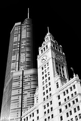 Chicago Contrast ~ Explore #235, September 26, 2012 (Neilheeney) Tags: blackandwhite bw chicago tower clock architecture contrast sony spire explore architect wrigley trump explored rx100 dscrx100