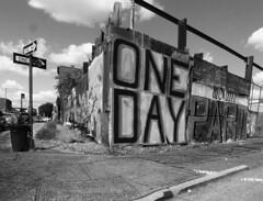 One Day We Will Part (mkaggen) Tags: street urban blackandwhite bw signs streetart streets art blancoynegro sign brooklyn graffiti grafitti noiretblanc pavement angles streetphoto streetcorner nycstreet redhook urbandesign thewall artshows brooklynstreet ilmuro blancetnoir streetphotgraphy visualsociology anglesnoirblanc blancoetnegroblackandwhite bwdna