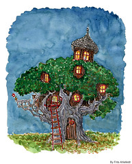 treehouse-autumn-cat (Frits Ahlefeldt FritsAhlefeldt.com) Tags: autumn house tree home illustration cat drawing treehouse fairy tale dwelling