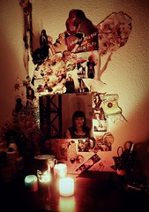 (mmoldypeach) Tags: portrait girl collage self candles candle lonely lantern