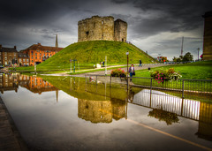 Clifford's Tower Reflected in York Flood (steturn) Tags: york reflection building tower water stone flood hill hdr highdynamicrange cliffords 3xp