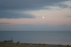 Just fishing - the beach at dusk (Kirkleyjohn) Tags: moon evening suffolk fishing northsea beachfishing seafishing pakefield pakefieldbeach