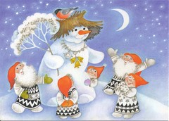 Snowman & Gnomes (Mailbox Happiness-Angee at Postcrossing) Tags: christmas gnome snowman merrychristmas gnomes christmascard christmaspostcard