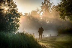 Photographer in the Mist (Mark Seton) Tags: mist lake sunrise dawn places essex hatfieldforest uttlesford