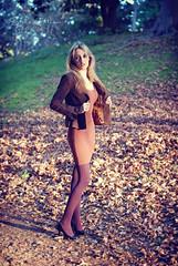 Amie (~eriani~) Tags: park autumn winter orange woman fall stockings leaves fashion dress purple outdoor portraiture blonde blazer femalex