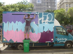 Vapski : graffiti van / cration en cours (23 juillet 2016) (Archi & Philou) Tags: graffitivan graffiti streetart vapski travailencours wip workinprogress paris20