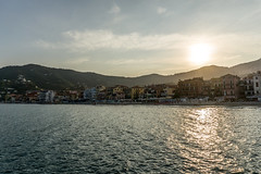 Alassio, Italy (CarolienCadoni..) Tags: sony a6000 1650mm sel1650 sundown sunset sea water shore sun mountains backlight reflection light clouds sky alassio italy coast