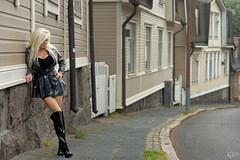Old Helsinki (DZ-fotografia) Tags: long blonde hair sexy woman black raincoat pvc helsinki boots legs