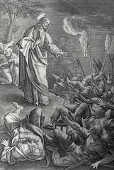 Phillip Medhurst presents John's Gospel: Bowyer Bible print 5519 Judas betrays Jesus John 18:3-6 De Vos (Phillip Medhurst) Tags: john johnsgospel gospelaccordingtojohn gospel jesus christ jesuschrist bowyerbible bible bibleillustration vos devos maartendevos gardenofgethsemane arrest betray judasiscariot