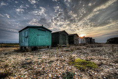 """The ten"", beach huts, Seasalter (Aliy) Tags: ten theten beachhuts beachhut seasalter whitstable kent beach pebbles shingle sunset clouds sky dramaticsky graveney"