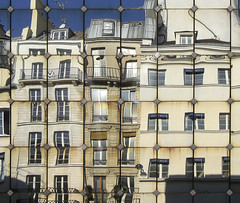 100 rue Rambuteau reflected in old Les Halles building (Carlos ZGZ) Tags: 2d 75001 architecture building carloszgz ccby city correctedperspective facade france geometry glass leshalles mirror myfavnew original outdoor paris photoshop rambuteau rectangles reflections street wallpaper windows fondodepantalla postal postcard cartepostale freeculturalworks openlicense creativecommons freepictures rue calle cmstoolsphotoring vertical line distorsion correction retouch remix collage photomontage manipulation photomanipulation adaptation transformation geometria geometrie miroir espejo reflejo reflejos reflet reflets glace fachada edificio batiment arquitectura francia europe europa fragmented