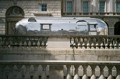clash of elements... (bmxhag) Tags: agphotolab agfavista200 london sonyworldphotoawards2016 olympusxa2 airstream caravan tickets xa2 olympus colour agfa vista scan city architecture americana somersethouse analog film 35mm