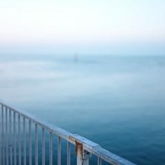 Railing against the horizon (Andrew Malbon) Tags: railings fence pier handrail solent eastney langstoneharbour tide lowtide sunrise autumn autumncolour depthoffield shortdepthoffield shore sun leica m9 leicam9 rangefinder manualfocus manual silence dawn dawnlight solitary urbex