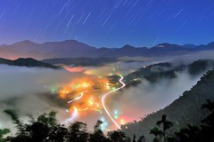 ~~   Startrails above Colored glass light Clouds (Shang-fu Dai) Tags:  taiwan  clouds nikon d800e sky   coloredglasslight liulilazurite landscape formosa nightscene nantou  trail  startrails flickrbronzetrophygroup