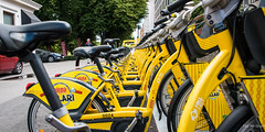 2016 - Baltic Cruise - Helsinki - HKL (Ted's photos - For Me & You) Tags: 2016 cropped tedmcgrath tedsphotos vignetting helsinki helsinkifinland finland fillari hkl helsinkicitytransport bicycles bicycleseats perspective seats handlebars yellow yellowline