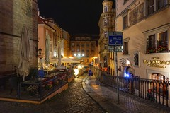 Street corners of Prague (beyondhue) Tags: sidewalk corner prague praha czech republic beyondhue restaurant mala strana night empty cobblestone architecture walk travel