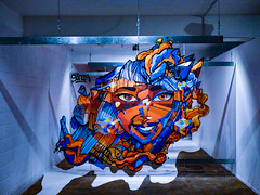 A-Ligned Face (Steve Taylor (Photography)) Tags: align 3d face cube fingerscrossed sofles glass hanging wire suspended fingers hand art abstract artwork design graffiti graphic portrait streetart blue orange white brown yellow offset smile smiling odd strange weird crazy lady woman newzealand nz southisland canterbury christchurch city lines perspective festival spectrum ymca alignment