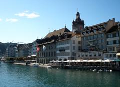 Luzern (likelyladtom) Tags: travel bridge landscape schweiz switzerland europe cityscape suisse luzern lucerne kapellbrucke
