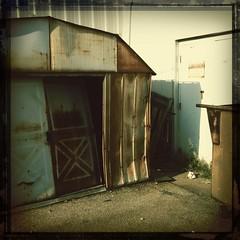 (Joie de Vivre) Tags: door brown white broken sign metal rust decay shed caution iphone hipstamatic