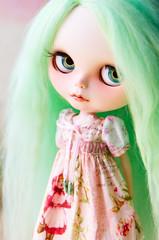 Like a green angel fairy... (jenniferabe) Tags: texas stablehouse blythe custom natt wingsinflight