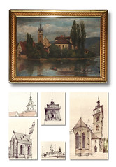 Stadtkirche Bad Cannstatt (Flaf) Tags: colour church water pencil painting boot stuttgart drawing gothic bad florian neckar rahmen gotik cannstatt romantik romanticism gemlde stadtkirche renaissnace schickhardt afflerbach