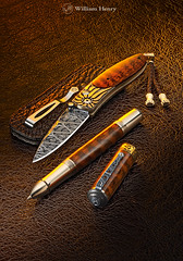 The Pen & the Sword (William Henry Studio) Tags: christmas men pen silver fossil gold anniversary unique graduation knife style jewelry diamond gift blade ruby fathersday damascus gems luxury tool exclusive engraved sapphire gemstones pocketknife mokume ebonite koftgari