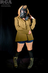 Jen 21 (Richard Amor Allan) Tags: lighting portrait socks pose studio army model glamour shoot legs boots military thighs blonde sultry gasmask shorts armyjacket bluelight greenjacket blueshorts denimshorts jeansshorts jenlatham