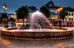Fountain at Torvet, Arendal (yvind Bjerkholt (Thank you all for 190K+ views)) Tags: city reflection water fountain beautiful norway architecture night canon eos norge dream hdr natt srlandet fontene arendal photomatix 600d austagder criticismwelcome torvet
