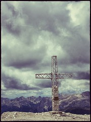 Cross On The Mountains (HimynameisPaolo) Tags: italy mountains montagne canon landscape landscapes italia cross maria jesus powershot paesaggio dolomiti croce rifugio on the passo delle terrazza sulle pordoi a2200