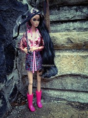 Rainy Days (Nataloons) Tags: pink rain fashion umbrella hair toys inch doll long lashes coat vinyl gear skirt poppy pout 12 plaid raincoat wellies parker happening rooted integrity
