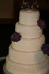 "piped wedding cake with purple peonies • <a style=""font-size:0.8em;"" href=""http://www.flickr.com/photos/60584691@N02/7977196858/"" target=""_blank"">View on Flickr</a>"