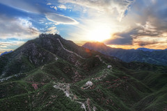 Crouching Tiger, Great Wall (TheFella) Tags: china travel sunset sky sun mountain mountains slr tower wall clouds digital photoshop canon landscape photography eos evening photo high asia dynamic dusk hill great towers chinese hills photograph processing flare 5d layers greatwall  dslr range fareast hdr highdynamicrange sunflare markii miyun thegreatwallofchina greatwallofchina eastasia postprocessing photomatix gubeikou crouchingtiger wohu thefella 5dmarkii conormacneill thefellaphotography