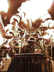 The Man Behind the Curtain (Redhead Pictures) Tags: art fire desert nevada playa burningman blackrockcity brc artcar steampunk artfestival mutantvehicle summer2012 steampunkoctopus elpulpomechanico