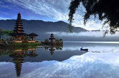 The Reflection of Peace (Ricky Nugraha) Tags: bali lake temple boat fisherman pura ulun danu beratan bedugul nikonflickraward