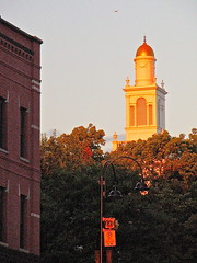 Burlington City Hall (1928)  tower at sunset (origamidon) Tags: sunset usa architecture burlington vermont cityhall belltower clocktower 1928 vt goldenlight goldendome nationalregisterofhistoricplaces 05401 nrhp greenmountainstate burlingtoncityhall chittendencounty origamidon donshall burlingtonvermontusa 06091983 cityhallparkhistoricdistrict 83003206
