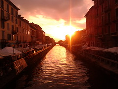 Sunset On Naviglio Grande (theuncle12) Tags: sunset sky cloud sun milan water gold canal grande tramonto milano canals cielo sole acqua antiquariato canale navigli oro naviglio navigliogrande bancarelle nuovola